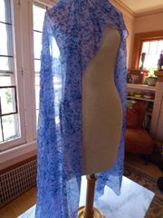 Silk Belly Dance Veil Blue Speckle 5mm Petite veil