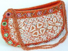 Orange and White Beaded Purse