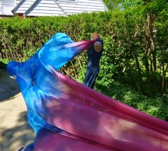 Silk Belly Dance Veil 3++yard, Light Red, Blues and Lavender
