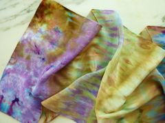 Flat Crepe Silk Scarf Hand Dyed Silk