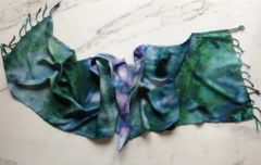 Tie Dye Scarf Soft Rayon with Fringe Blue and Green