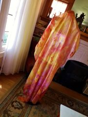 Silk Belly Dance Veil Petite Size Orange Yellows and Pinks Silk Pareo or Shawl