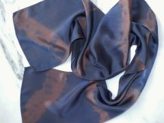 Satin Scarf Hand Dyed Neutral Colors Grey and Brown