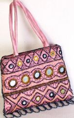 Pink Satin Purse with Mirrors and Beads