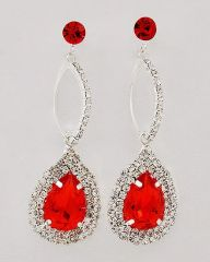 Ruby Red Tear Drop Dangle Earrings