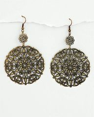 Mandala Earrings in Burnished Gold Tone Filigree.