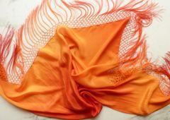 Silk Triangle Shawl with Silk Fringe, Orange Ombre