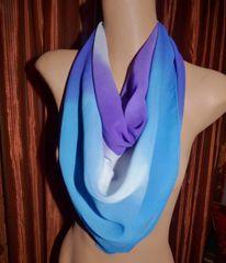 Silk Chiffon Scarf Purple, Blue and White