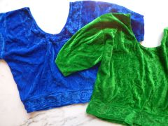 Stretch Velvet Short Sleeve Choli Top