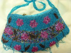 Turquoise Beaded Purse with Fringe