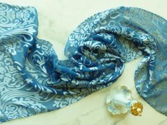Silk and Satin Devore Scarf, Peacock Blue