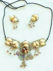 Cowry Shell Tribal Choker Necklace and Earrings Set