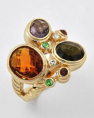 Gold and Multi Colored Cubic Zirconia ring Size 6
