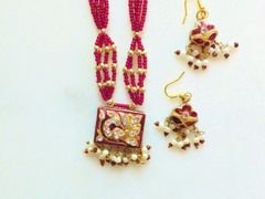 Beautiful Red Seed Bead and Rhinestone Necklace and Earrings