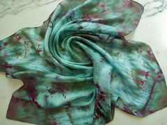 Silk Scarf Flat Crepe Ice Dyed Greens and Burgundy