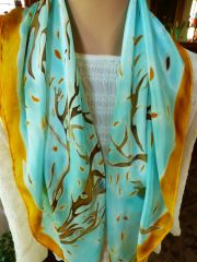 Hand Painted Silk Scarf Fall Trees