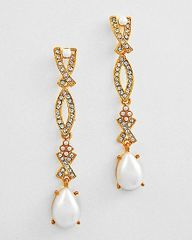 Long Pearl and Rhinestone Post Earrings