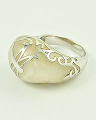 Silver and White Butterfly Ring