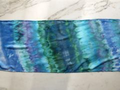 Tie Dye Scarf Soft Rayon with Fringe Blue, Green, Purple Striped