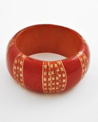 Red Wood and Gold Metallic Chunky Bracelet