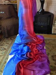 Silk Belly Dance Veil 3+ + yards Blue, Red and Violet