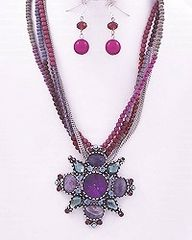 Purple Glass Stones Pendant Necklace and Earrings Set