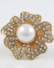 Adjustable Faux Pearl and Rhinestone Flower Ring