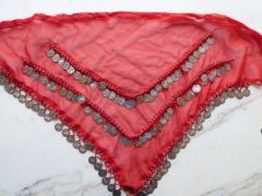 Red Chiffon Hip Scarf with Silver Coins