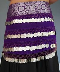 Brocade Hip Scarf with Coins