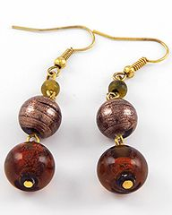 Brown Glass Bead Earrings