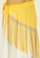 Yellow Traingle Hip Scarf with Long Fringe and Beads