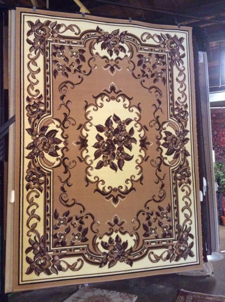 Creme French Aubusson design 8x11 machine-made rug