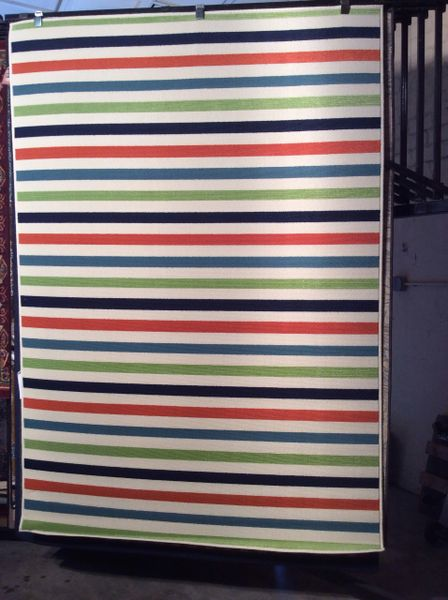 Multi-colored stripes 5x8 machine-made rug