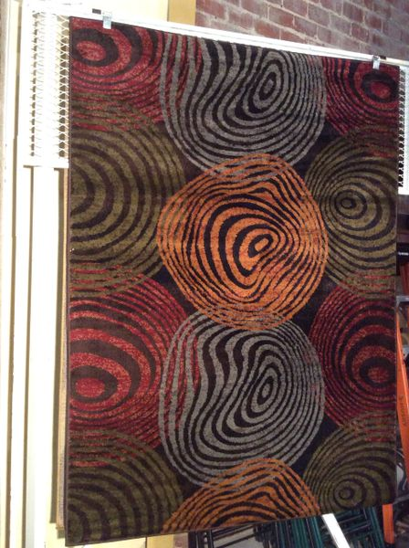 Contempory multi-colors 5x8 machine-made rug