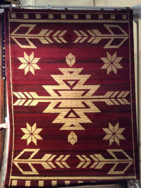 Burgundy southwestern 5x8 machine-made rug