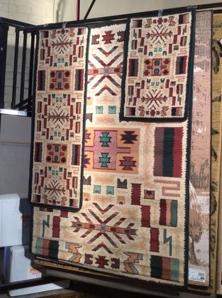 3 piece set Native American design 5x8 machine-made rug