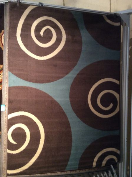 Contemporary Turquoise and Brown 5x8 machine made rug