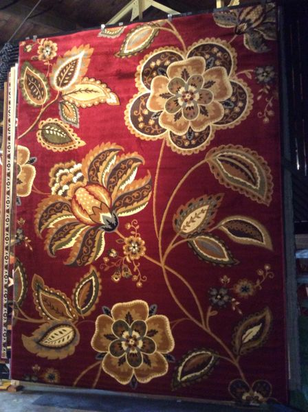 Burgundy transitional floral 8x11 machine made rug