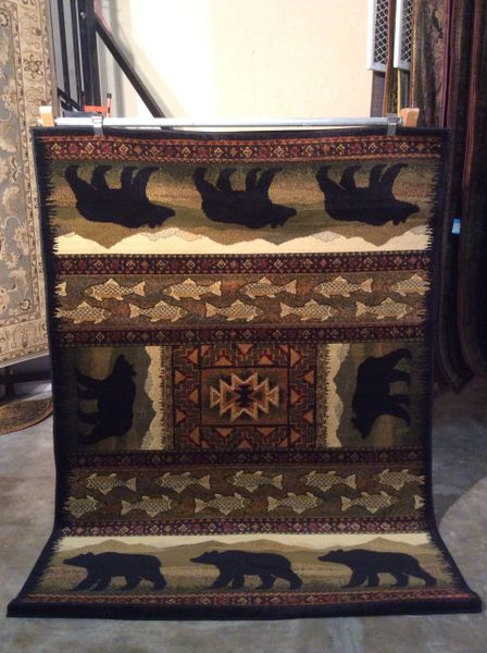 Bears and fish machine made rug