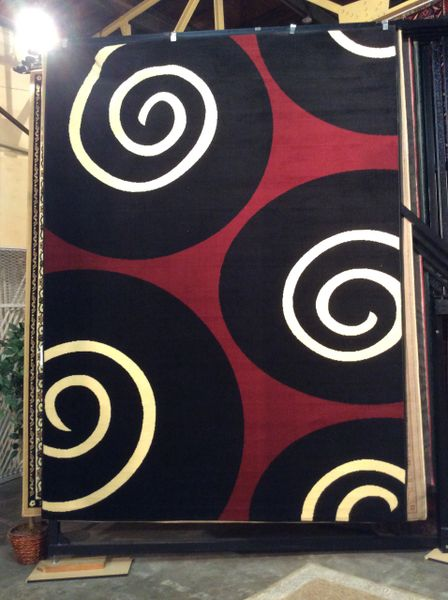 Black Circles 8x11 Machinemade Rug
