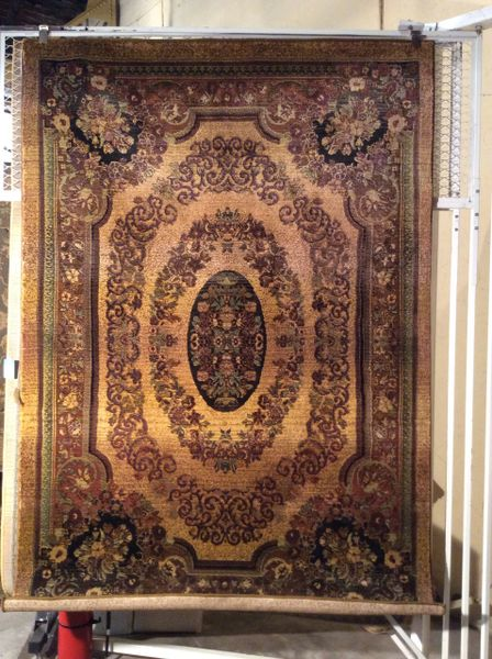 French Aubusson gold tea wash 5x8 machine-made rug .sold out