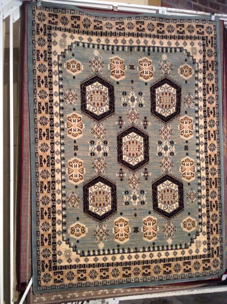 Blue gray geometric pattern 5x8 machine made rug