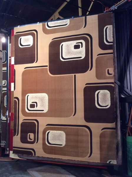 3-D creme machinemade rug