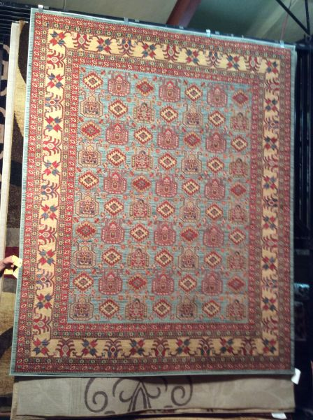 Light Blue Geometric Persian Design 8x11 Machinemade Rug