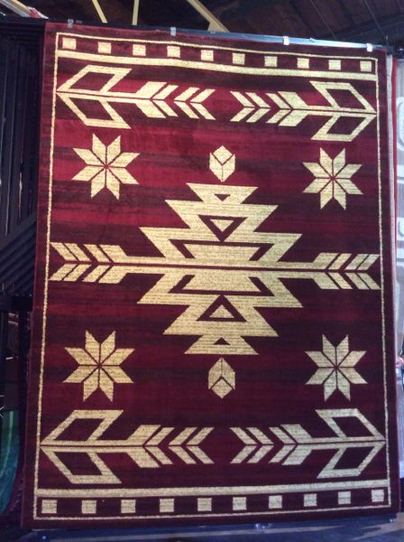 Burgundy southwestern style 8x11 machine made rug