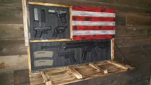 Gun Concealment Flag San Tan Woodworks Wooden American