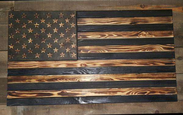 Burnt Concealment Flag Standard Size Wooden American