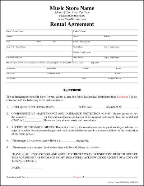 Music Store Instrument Rental Agreement One Stop Printers Direct