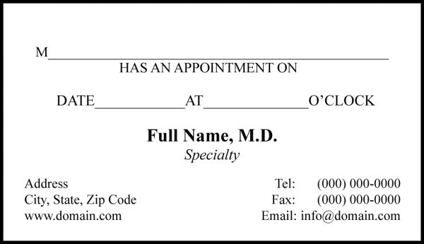doctor appointment card one stop printers direct mail service