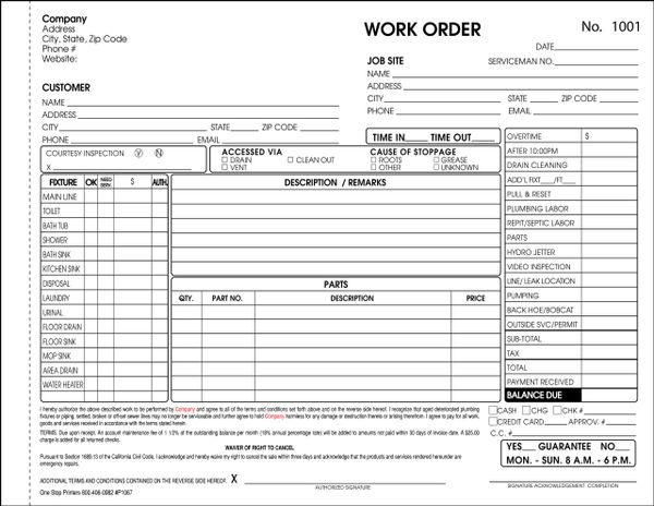 plumbing drain cleaning septic system invoice p1067